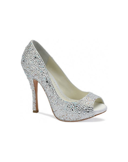 Benjamin Adams Charley style is the updated version of the famous Charlize design. The Charley has been updated to now incorporate a fully embellished crystal heel. Heel height measures 4 1/4""