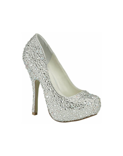 "The Benjamin Adams Lulu shoes are a stunning work of art for your feet. The amazing closed toe platform design is fully encrusted in glittering rhinestones. The sexy 4 3/4"" heel is perfectly balanced for support with a 1"" platform front"