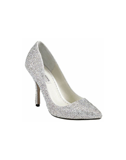"The Benjamin Adams Jada takes the classic closed toe pump to a whole new level. The basic pointed toe pump design is encrusted all over with gorgeous rhinestones that catch the light with every step you take. The perfect 3 3/4"" heel will allow you to dance the night away in comfort."