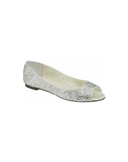 The Benjamin Adams Halle is the ultimate bridal flat. An adorable peep toe design and fully encrusted in stunning crystals that glitter in every light. The perfect shoe for any bride looking for all the glamour and style of a pump in a flat!