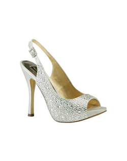 """Peep toe sling backs with crystals encrusted all over the shoe. The adjustable sling back design allows for a customer fit. The 4 1/4"" heel is tall and elongating. Available in a choice of Silver and Champagne silk."""