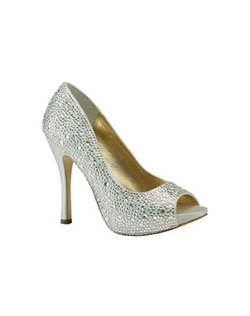 """Peep toe pumps covered in sparkling crystals for a dazzling effect all over. The tall 4 1/4"" heel is complimented by a 1/2"" platform front for comfort and style. Available in a choice of Black, Champagne and Silver silk."""