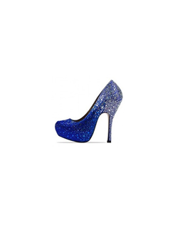 "The Benjamin Adams Rio pumps are hands down fabulous. The modern platform pump design is fully encrusted in glittering crystal details. The 4 3/4"" heel and 1"" covered platform front make a huge statement. Available in Silver, Red, Blue, Champagne, Black and Silver fade."