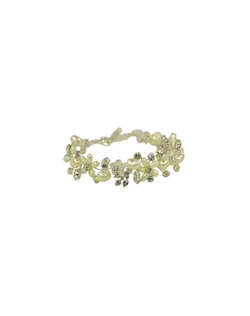 Made of delicate and light weight crystals and pearls, this bracelet a perfect choice for a soft romantic look. This bracelet blends beautifully with the Anya, Tiffany or Tre Jolie Hair Comb. Measures 7 inches with 2 inch adjustable fasten.