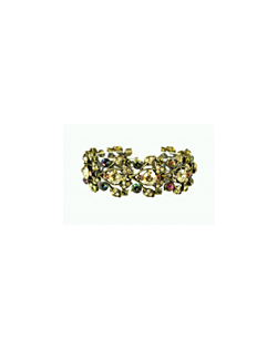 The beauty of this bracelet comes for the subtle array of colors that is given off by these unique Swarovski Crystals and accented by a rich gold setting. Pair the necklace with the Kaleidoscope Crystal Earrings. Bracelet measures 7 inches by 1 inch