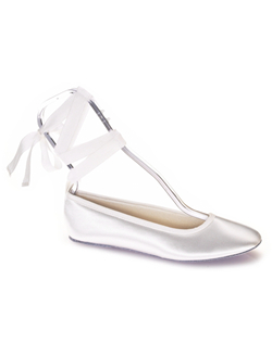 This white satin ballet slipper has a pretty ribbon tie. It's a comfortable alternative to heels and a perfect shoe to change into at the reception.