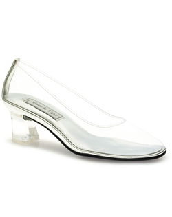 """The classic pump style, a modest 2"""" heel and flexible vinyl upper means this shoe is ultra comfortable. The see-through design means it's anything but ordinary! It's your modern glass slipper. Available in a wide selection of sizes."