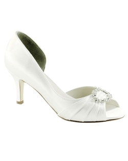"""A sophisticated look in your choice of black satin or dyeable white satin. Also available separately in metallic silver. The pleated peep toe is set with a crystal buckle detail. Heel measures 2 1/2"""""