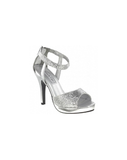 """Gorgeous glitter mesh sandals with platform front and ankle strap detail. The lattice style glittered toe area is lifted on a 1"" platform front while the solid metallic 3 3/4"" heel creates contrast."""