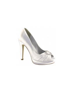 """A very sophisticated design, this classic pump comes in black, silver or dyeable white satin making it a great choice for the bride, the wedding party or anyone going out on the town. The pleats at the toe are accented with a crystal buckle detail. Heel measures 4"""" and is complemented by a platform base."""