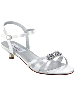 """The perfect bridal sandals. The super classic sandal design featured a strappy toe are and gorgeous rhinestone cluster brooch at the toe for ultimate sparkle effect. The awesome 1 1/4"" kitten heel is not only easy to walk in but always comfortable. Available in dyeable white and black satin as well as silver metallic."""