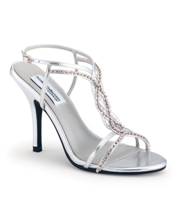"""Woven straps are embellished with rhinestones for extra shimmer on this hot metallic silver shoe. Available in a large selection of sizes, heel measures 3"""". This shoe is not dyeable."