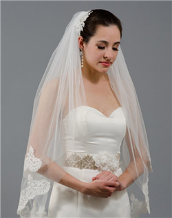 2 tier lace wedding veil