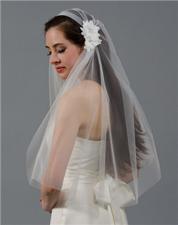 ivory juliet cap wedding veil with venice lace flowers