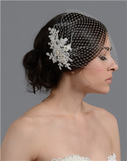 birdcage veil with alencon lace flower
