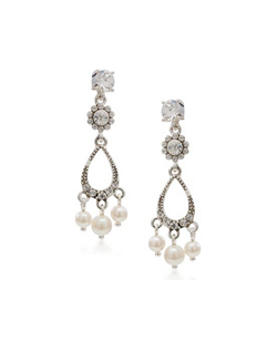 "A sprinkling of crystals on an open teardrop base give these earrings a light, airy look, even at 1.5"" long. When your hair is worn down, they peek out subtly and with an updo they make a gorgeous statement as they move and sway. Made of clear crystal and faux pearls set on a silvertone base. For pierced ears."