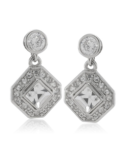 A geometric design with pave set crystals makes you feel like you're wearing vintage finery. The delicate drop style allows the earring to move and sparkle just enough without being distracting. Pierced backs have stainless steel posts.