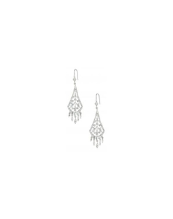 These vintage inspired fan shaped chandelier earrings with dangling crystal droplets on the  ends. They are perfect with a lace dress or one with delicate, ornate detail.