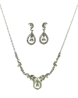 Exude the look of Royalty with the gorgeous sparkling necklace and earring set. It's traditional feminine design with always be in style. Great for the bride or bridal party. Necklace measures 16 inches with 2 inch extender. Earrings measures 1 1/2 long and 3/4 wide.