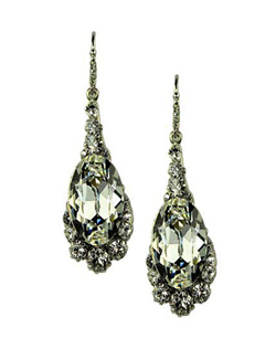 Right off the red carpet, these elegant drop earrings will be sure to make any bride shine like a star. The pearl shaped center Swarovski crystal is surrounded by smaller cut crystals. Wear them time and time again after the wedding for a night out on the town