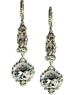 These long dramatic teardrop chandelier earrings are pure royalty. Pair with the Alexia Necklace and the Alexia Hairsticks for an ultimate ModelBride Look! Each measures 2.5""