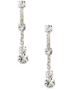 Three larger crystals joined together by a strand of smaller crystals give these earring a contemporary feel while illuminating your face with their sparkle.