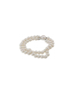 "Nothing says classic like pearls, and this double stranded 6mm bracelet says it all. It is finely finished with a silver and pearl clasp. Measures 7.5""."