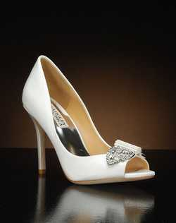 Peep toe pump with crystal embellishment at toe