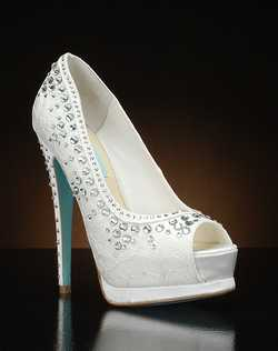 Peep toe platform pump with lace overlay and crystal details
