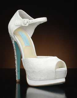 Peep toe Platform Pump with Lace overlay and rhinestone heel
