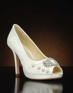 Peep toe platform pump with lace overlat and crystal embellishment