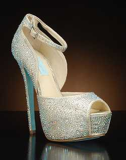 Peep toe platform ankle strap pump with crystals