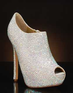 Peep toe platform ankle bootie with Austrian crystals