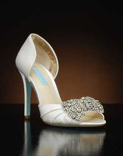 Peep toe d'orsay with crystal bow detail