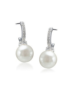 The Megan Crystal and Pearl Hoop Earrings