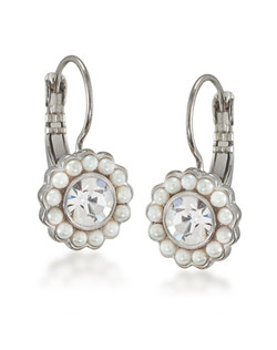 The Erin Pearl and Crystal Florette Drop Pierced Earrings