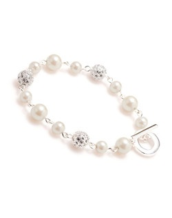 The Maya Crystal Fireball and White Pearl Bracelet