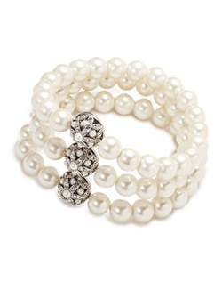 The Violet Three Row Pearl and Crystal Stretch Bracelet