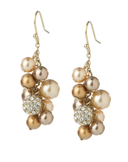 The Natasha Gold Crystal and Pearl Cluster Pierced Earrings