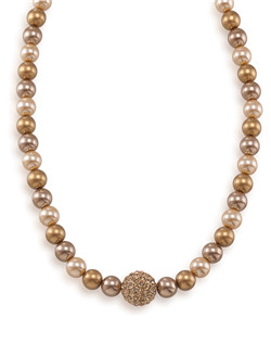 The Addison Gold Pearl Necklace with Gold Crystal Center