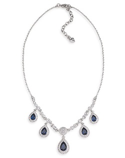 The Phoebe Blue Crystal Teardrop Necklace