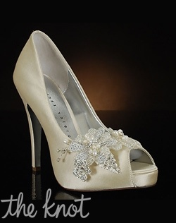 Peep toe pump with crystal and sequin floral decoration