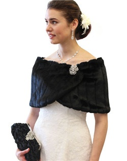 Black faux mink fur bridal wrap with a pair of Hidden Hooks, black satin lining, 49 inch maximum length and 11.5 inch wide.