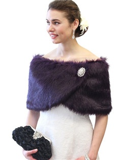 Purple Faux Fur Wrap is ideal for brides, bridesmaids, weddings, bridal and formal events in colder weather.  Satin lined faux fur wrap stole shawl.  Assorted colors available such as Black, Ivory, Pure White, Sable and Chinchilla Grey Wrap.