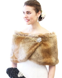 Vintage Brown Faux Fur Wrap is ideal for brides, bridesmaids, weddings, bridal and formal events in colder weather.  Satin lined faux fur wrap stole shawl.  Assorted colors available such as Black, Ivory, Pure White, Sable and Chinchilla Grey Wrap.