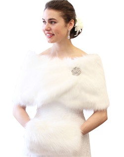White Faux Fur Wrap is ideal for brides, bridesmaids, weddings, bridal and formal events in colder weather.  Satin lined faux fur wrap stole shawl.  Assorted colors available such as Black, Ivory, Pure White, Sable and Chinchilla Grey Wrap.
