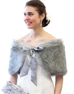 Chinchilla Grey Faux Fur Shawl is perfect for cold winter weddings, bridal events, and formals.  Bridal Stole Shawl Wrap is lined with satin and comes in many other colors.