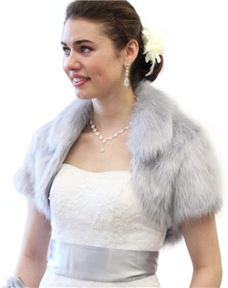 Glamourous Grey Faux Fox Fur Crop Bolero Jacket with collar will leave you warm and cozy during your winter wedding, bridal event, or formal dinner.  Great Quality Faux Fur at Low Prices