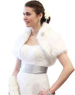 Glamourous White Faux Fox Fur Crop Bolero Jacket with collar will leave you warm and cozy during your winter wedding, bridal event, or formal dinner.  Great Quality Faux Fur at Low Prices
