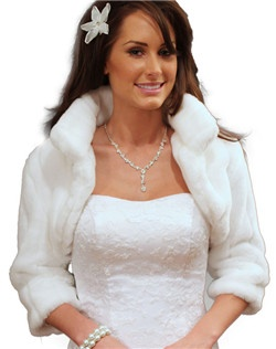 Quality low priced, White Faux Fur Jackets long sleeve in assorted colors, sizes and styles.  Perfect for formal evening wear, winter weddings, brides and bridesmaids.